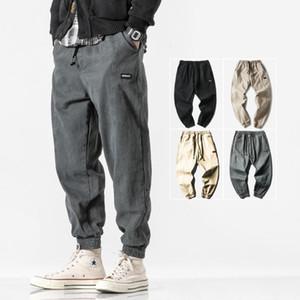 Autumn Cotton Cargo Pants Men's Fashion Slim Ankle-Tied Pants Elastic Waist Casual Men Jogger Ankle-Length Trousers Harem