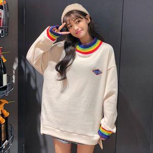 Winter cute rainbow element sweater Harajuku loose casual style wild small fashion sweet literary fan long sleeve pullover women