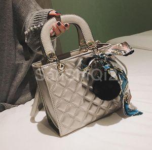 Fashion European Female Tote bag 2020 New Quality PU Leather Women's Designer Handbag Ribbon Hair ball Shoulder Messenger bags