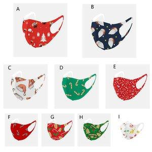 Рождественская маска для лица Мода Санта-Клаус Печать ледяных шелковых хлопковых защитных масок пылезащитный моющийся многоразовый рождественский рождественские маски