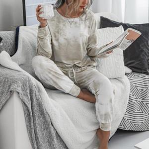 Impression de léopard Print deux pièces Ensembles Pajama Femmes Tracksuits Pantalons Ensembles Femmes Longue Vêtements De Sleep Habillement Home Femme Vêtements de nuit