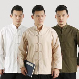 Uzun Kollu Pamuk Geleneksel Çince Elbise Tang Suit Üst Erkekler Tai Chi Üniforma Gömlek Bluz Hanfu Erkek Saf Kostüm1
