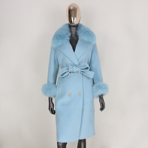 BluenessFair 2021 lã de cashmere mistura casaco real Double Breasted Winter Jacket Mulheres Big Natural Fox Collar Colar Outerwear