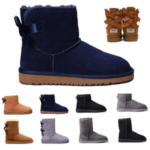 Classic Ladies WGG luxury designer women boots tall chestnut Bailey Bowknot leather winter snow ankle womens Half Knee australian boots