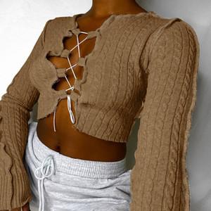 Sonbahar / Kış 2020 Yeni Popüler Kadın Giyim Göğüs Hollow Lace Up Örme T-Shirt Kadın Patchwork Uzun Kollu Yokulu Seksi Parti Tops