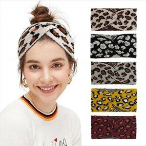 Leopard Вязаная повязка Мода Criss Cross диапазона волос Зима Эластичность банданы Теплая шерсть Вязание Женщина Headwear DDA637