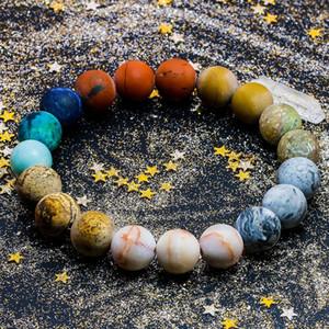 Universe Premium Space Planets Solar System Natural Stone Beads Bracelet Bangle for Women Men Gift Chakra Yoga Jewelry