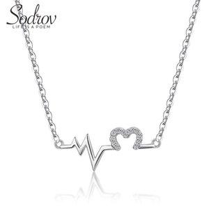 Sodrov S925 Love Heartbeat Collana 925 Sterling Sterling Silver femminile Clavicle intellettuale Belle gioielli per le donne1