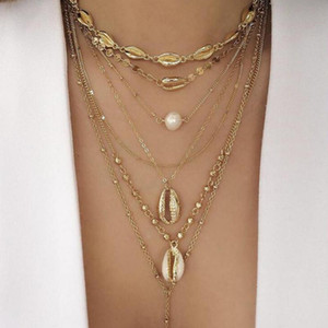 Tocona Punk Chain Gold Color Beach Shell Conch Pearl Beads Multistorey Pendant Necklace For Women Boho Party Jewelry C19208