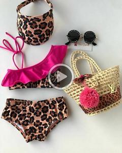 PLIF Summer Kid Baby Girl Sweet Casl Léopard Imprimer Volous Bikinis Ensemble Maillots de bain Moins de baignade