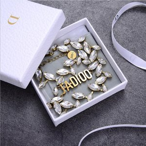 Retro letter collar temperament olive leaf drill neck chain clavicle chain female horse eye personality versatile Necklace