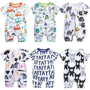 Cartoon Baby Onesies Summer Cotton Romper Boy Girls 0-24 Months Kids Clothes Knitted Cartoon Short-sleeved Jumpsuit Outfits 201013