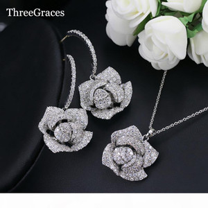 ThreeGraces Fashion Wedding Party Jewelry Cubic Zircon Micro Pave Big Dangle Rose Flower Earrings Necklace Sets For Ladies JS096