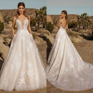Kitty Chen 2021 Wedding Dresses A Line Bohemia Lace Appliqued V Neck Bridal Gowns Sweep Train Beaded Boho Wedding Dress