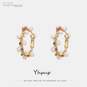 Yhpup العصرية exqusite الحجر الطبيعي اللؤلؤ الطبيعي هوب أقراط سوبر عالية الجودة النحاس أقراط صديق المرأة الزفاف هدية 1