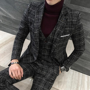 3 Pieces Suits Men British Latest Coat Pant Designs Black Grey Mens Suit Autumn Winter Thick Slim Fit Plaid Wedding Tuxedos