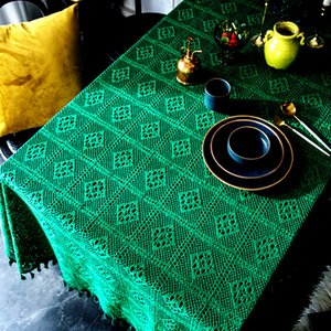 Decor Room Lace Crochet Tablecloth Home Pastoral Hollow Decorative Living Green DIY Table Cover Holiday Parties Vintage For Loulm