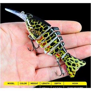 new multi jointed fishing lure 7 segments jerkbait 11.2cm 14g realistic swimming bass wobbler bait 6# black treble hook