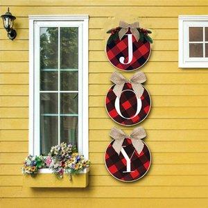 34CM Natal da grinalda Vermelho e preto da grade letras impressas Moda Árvore de Natal Escadas porta janela decorações do partido Acessórios KKF1803