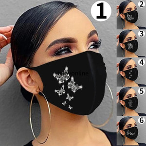 DHL شحن أشخاص ترف بلينغ حزب الترتر MasksMouth غطاء قابلة لإعادة الاستخدام فراشة الكرتون تنفس الأسود فارغة FY9277 قناع