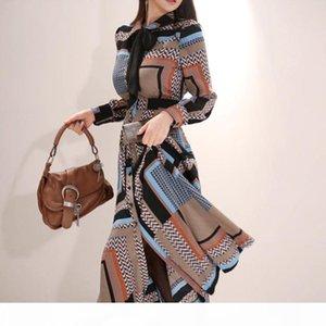 Han Queen Vintage Imprimer Elegant Long Robe Femmes 2019 Printemps Chemise à poitrine à poitrine Robes à la taille Taille de la cheville de la cheville Vestidos Y190514