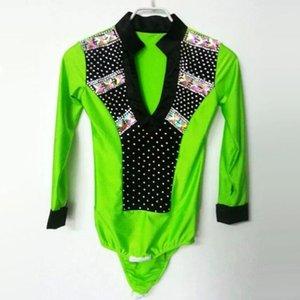 Homens sexy do tango / menino Dança Latin Top Verde / Branco / Rosa Camisa de Salão de Belisco SpandaxBright Roupas para Dancing1