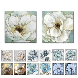 Hand-painted Flowers Abstract 2 Panel Oil Painting Wall Art Canvas Painting Calligraphy Decor Picture for Living Room Home Decor