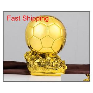 جديد ballon d'or trophy كرة القدم الذهبي الكرة جائزة trofei calcio في العالم أفضل لاعب mvp soccer المشجعين الحرفية تذكارية ديكور المنزل C3S8N