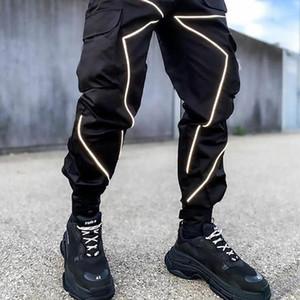 Erkekler Koşucular Harem Pantolon Yansıtıcı Çizgili Streetwear Hip Hop Sweatpants Harajuku Sonbahar Yeni Parça Kargo Pantolon Pantolon