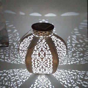 Wrought Iron Solar Lanterns Portable Melon Pumpkin Shape Hollow Garden European Table Lamp Q0KF