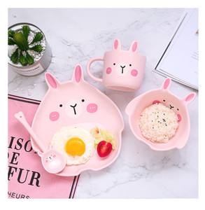 3pcs ceramics Dinnerware Bowl Dish Cartoon Rabbit Totoro Gift Kitchen Cooking Tools Accessory Household Tableware Home Decor