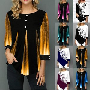 Plus szie 5XL Woman Blouse and Shirt Fashion Summer Striped Blusa Loose Casual Button O neck Long Sleeve Shirt Top 2020
