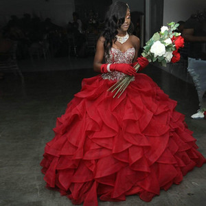African Black Girls Red Ball Gowns Quinceanera Dresses Ruffles Organza Crystal Beaded Strapless Bandage Sweet 16 Dress Prom Graduation Gown