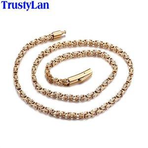TrustyLan nunca se descolora color oro para hombre collar 316L eslabón de la cadena de joyería de acero inoxidable 4 mm de ancho 24 pulgadas collares para las mujeres