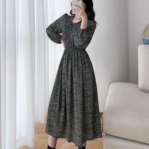 COIGARSAM Floral Print Women dress Spring Dresses White Black Ga Color B1664