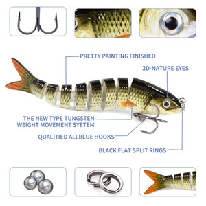 8 Section Excellent Hard Metal Jointed Flexible Swimbait fishing muskie crankbait Lure with Artificial Hooks in Ocean Boat Fishin