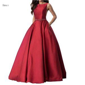 2021 Venta caliente Vestidos de noche Vino Rojo Sin mangas de encaje hacia arriba atrás A-Line Dress Vestido formal L4215