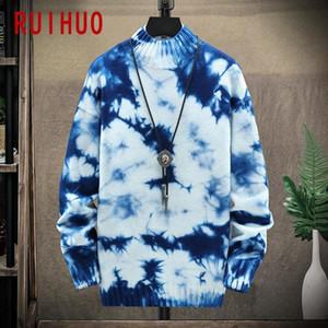 RUIHUO Tie-краситель вязаный свитер мужской одежды Прицепные Свитера Зимние мужские Одежда Пуловер мужские пальто 2020 осень зима новый M-3XL