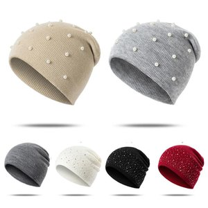 2020 Winter Beanies Hat For Women Girls Fashion Rhinestone Gypsophila Pearl Beanies Caps Soft Ladies Caps Gorros Mujer Invierno