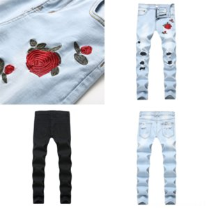 pEh76 Men's fashionprint jeans Male colored drawing painted skinny hop 4 jeans basketball shoe pants hip denim blue