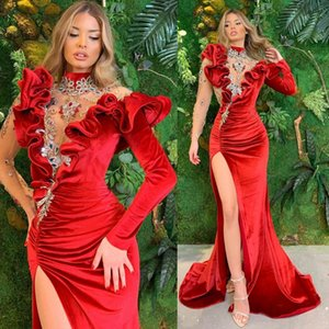 Elegant Evening Dresses High Collar Lace Appliques Beads Prom Gowns Custom Made Sexy Split Sweep Train Mermaid Special Occasion Dress