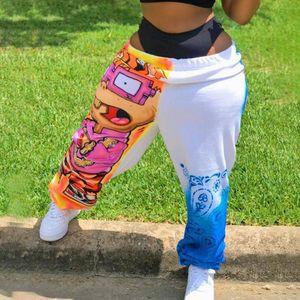 Jodimitty Kadınlar Pantolon Serbest Spor Casual Harem Pantolon Comics Baskılı patchwork Koşucular Pantolon Kalça Casual Pantolon KPOP 201.112 Hop