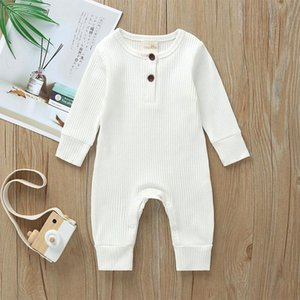 A001 Baby Clothes Autumn Unisex Newborn Cotton Long-sleeved Jumpsuit Knitted Striped Solid Color Simple And Fashionable Baby Romper