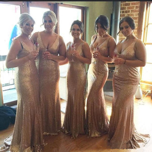 Sexy V Neck BlingBling Sequined Mermaid Bridesmaid Dresses Plus Size Wedding Party Gowns Zipper Back Long Maid of Honor Dress