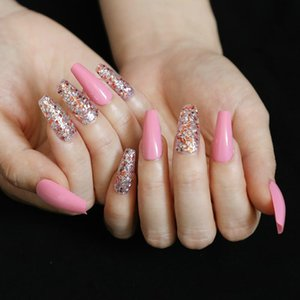 24pcs Multiple Designs Available Coffin Press on Nails Gradient French Rhinestone Full Cover Nail Tips Coffin with Designs