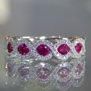 Hot Sale New Micro-set Ruby Engagement Ring Natural Diamond Female Ring Mother Birthday Sister Present Student Love Gift