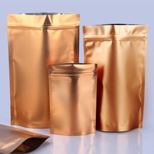 Atacado suporte profunda Matte Ouro-se folha de alumínio Ziplock Bag Snack bolinho café embalagem Bag Doypack ouro presente Ziplock Bags