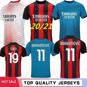 Ibrahimovic Thai 20 21 AC Milan Yeni Futbol Formaları Piatek Futbol Gömlek Paqueta Suso Higuain Calhanoğlu Caldara Erkekler Çocuklar Kiti Formalar