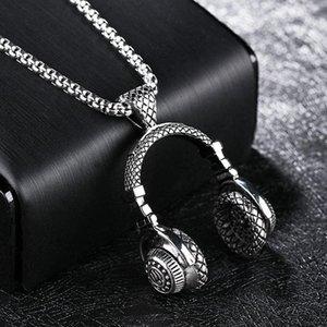 سلاسل الموسيقى سماعة قلادة الرجال قلادة الهيب هوب المجوهرات الفولاذ الصلب القلائد 2021 أزياء روك dj مغني الراب رجل مجوهرات كولير