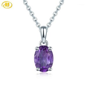 Lockets Hutang Amethyst Solid 925 Sterling Silver Pendant Real Oval 8x6mm Purple Gemstone Chain Fine Fashion Simple Jewelry1